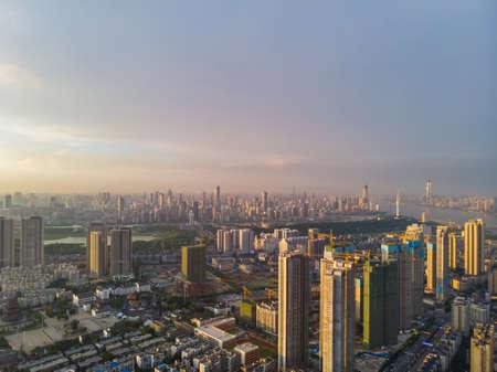 Hubei Wuhan summer city skyline scenery