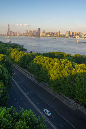 Hubei Wuhan summer city skyline scenery