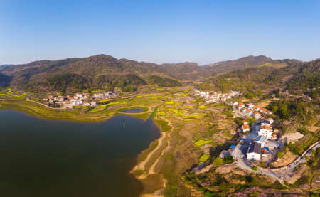 Spring scenery of Baoan Lake and Zhaoshan Forest Park in Huangshi, Hubei