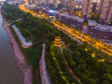 Hubei Wuhan summer city skyline night scenery