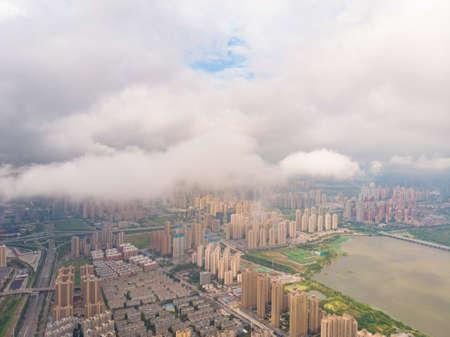 Hubei Wuhan summer city skyline scenery 写真素材