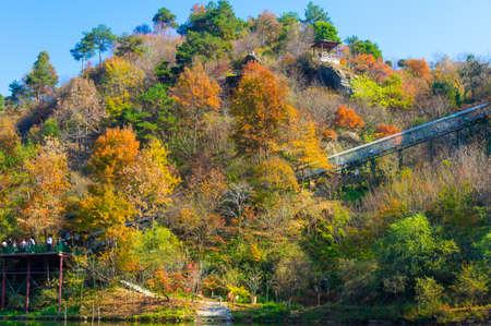 Late autumn scenery of Qingliangzhai Scenic Area in Wuhan, Hubei