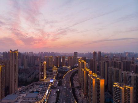 Wuhan city skyline scenery in Hubei