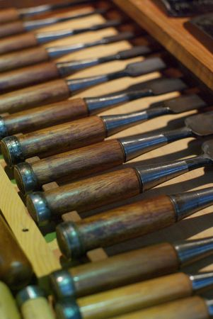 woodcarving: Various Wood Working Tools: Woodcarving Chisels with a very shallow Depth of field Stock Photo