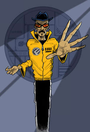 yellow jacket: Line drawing of man with expressive hands in yellow jacket
