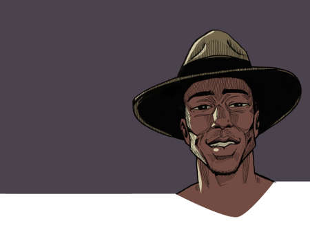 Portrait of african man in vintage hat