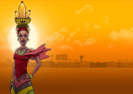Mujer africana buscando a wather en el sol de la tarde con el municipio en la distancia detrás de ella Foto de archivo - 90995698