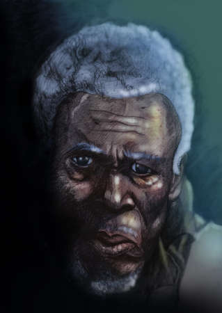 Digitally coloured pencil illustration portrait of old african man with grey hair