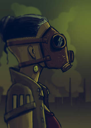 Digital illustration of  a girl wearing a gas mask while smoke pollutes the air in the background Stock Photo