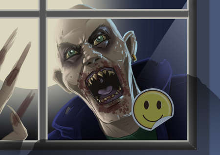 Digital illustration of crazed zombie looking in a window ith a smiley face sticker on it