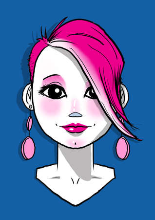 Digital illustration of Girl with long pink earrings