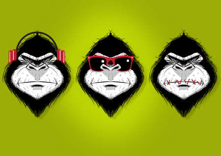 Digital illustration of three gorillas, hear no evil, see no evil and speak no evil