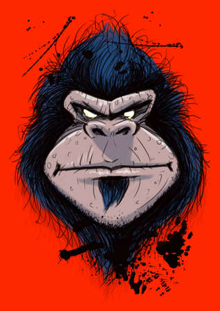 Digitall illustration of portrait of angry gorilla
