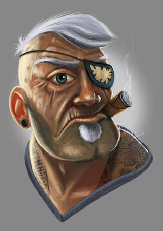 Digital illustration of old pirate with an eye patch and cigar