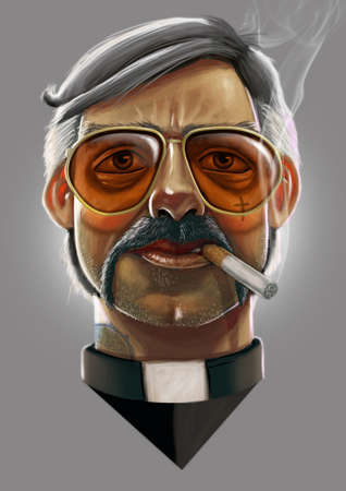 Digital illustration of priest with orange tinted suglasses and smoking a cigarette Stock fotó