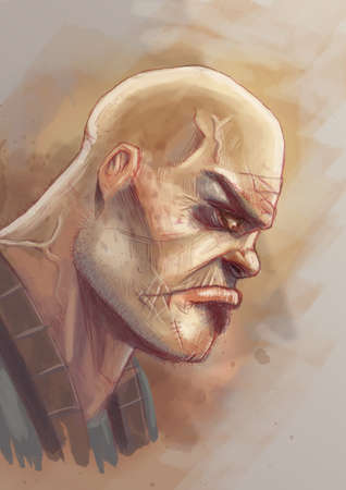 Digital illustration of a portrait of a tough guy with a scowl on his face