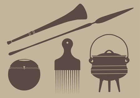 Flat silhouette vector illustrations of various african objects