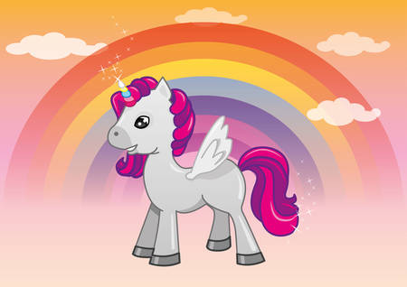 Vector illustration of magical unicorn in the afternoon sky with a rainbow behind it and clouds Illustration