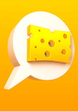 3D Illustration of a piece of cheese inside a 3d speech bubble with a bright yellow background