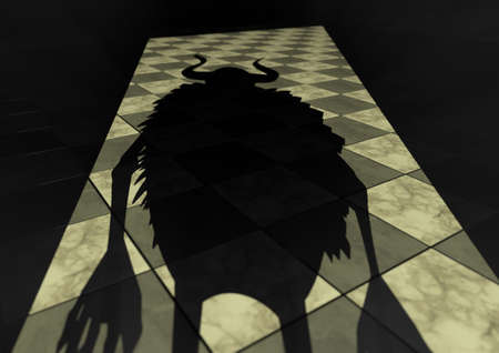 3D Render of a cast shadow of a scary monster in the doorway that is being backlit and showing a grey and white tiled floor