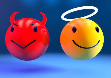 Rendering 3D di un angelo e un diavolo emoji fianco a fianco su uno sfondo blu