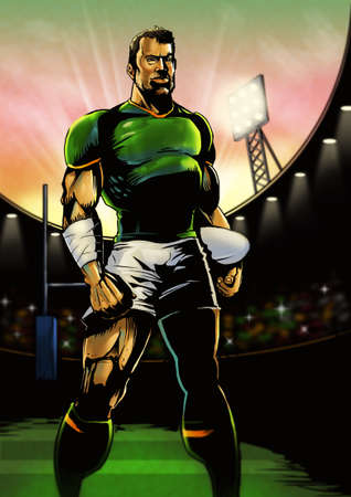 Digital illustration of a rugby player in a stadium lining up for the game in the early evening