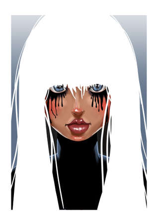 Digital illustration of girl with pure white hair, blue eyes and mascara running down her face Stok Fotoğraf