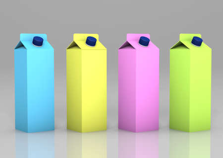 Blank 3d render of a range of colourful, milkshake cartons with a blue screw on lid isolated on a grey gradient background