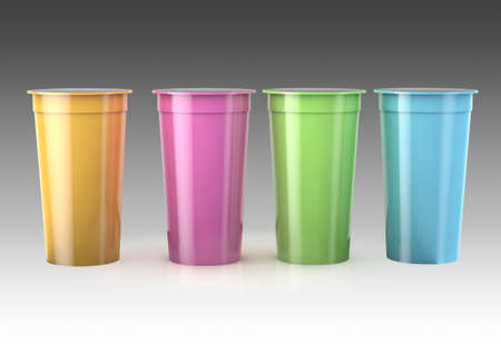 landscape 3d render of 4 blank colour cream tub mockup renders with foil peel off lids on a grey gradient background.