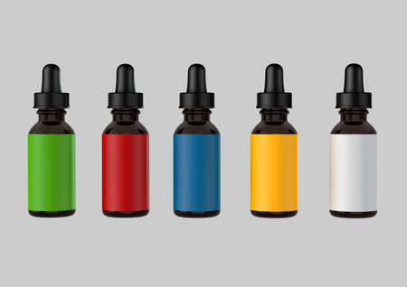 portrait 3d render of multiple blank medicine tincture bottles with the lids on and colourful labels isolated on a light grey background Zdjęcie Seryjne