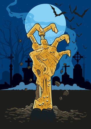 Illustration of zombie hand in a cemetary at night pushing up out of the ground in front of gravestones under the moonlight.