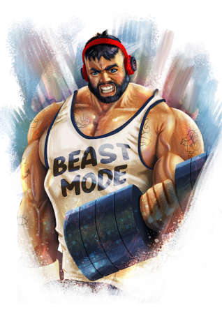 Digital illustration of muscular man with tattoo's and headphones and beast mode written on his vest lifting weights