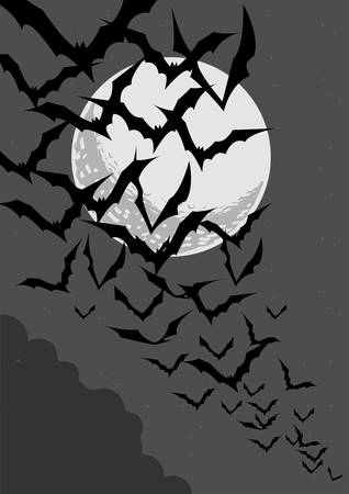 Vector illustration in greyscale of bats swarming out in the night in front of the moon