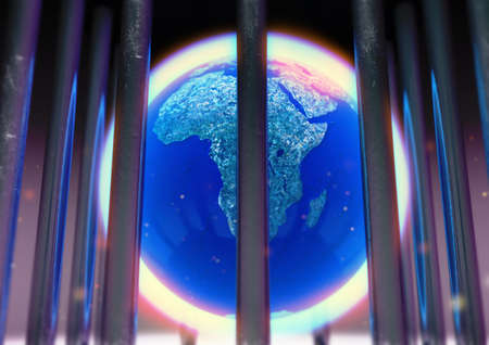 3D Render of close up the earth's globe with an atmosphere around it, trapped inside a cage with dust particles and a minimum depth of field. Lockdown Banco de Imagens