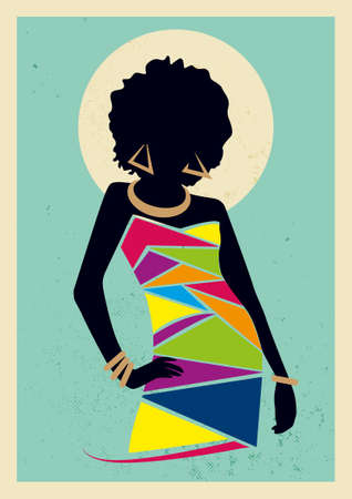 Digital illustration of a modern african woman silhouette with bright coloured dress standing infront of a round sun