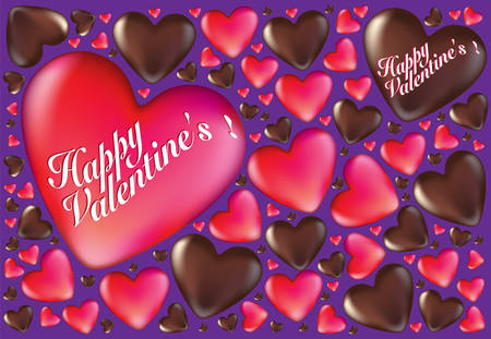 indulgence: Happy Valentines Hearts And Chocolates Card Background Illustration
