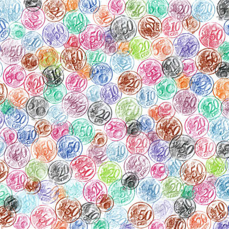 euro coins: Colorful Hand Sketched Euro Coins Background