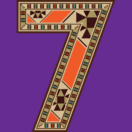 seven: Oriental Colorful Mosaic Decorated Number Seven