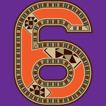 sixth birthday: Oriental Colorful Mosaic Decorated Number Six