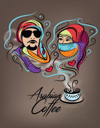 inlove: Arabian Coffee Poster - Arabian Couple Inlove Concept Illustration