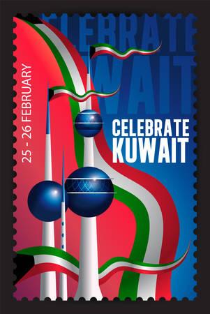 Célébrez la Journée nationale du Koweït - Timbre postal Banque d'images - 56633774