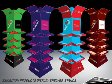 exhibitor: Blank Multi Colored Exhibition Products Display Shelves Stands Illustration