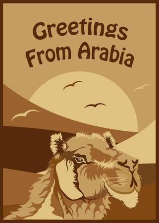 Woodcut Style Greetings From Arabia Art Illustration