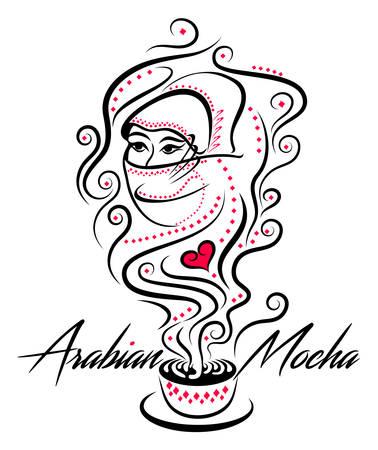 genie woman: Arabian Mocha Black And Red Icon Illustration