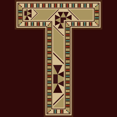 t square: Oriental Wooden Mosaic Decorated Capital Letter T