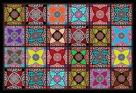blended: Blended Joyful Colors Arabesque Mosaic Tiles