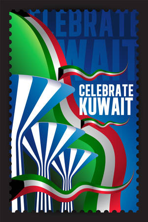 liberation: Celebrate Kuwait - Symbolic Water Towers and Flags Stamp Illustration