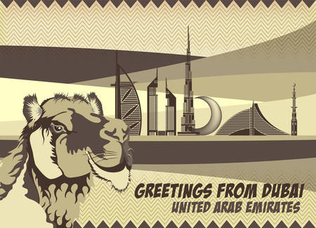 sand dunes: A Retro Vintage Style Greeting Card Featuring Dubais Landmarks Skyline Sand Dunes and the Arabian Camel (Dromedary) Illustration
