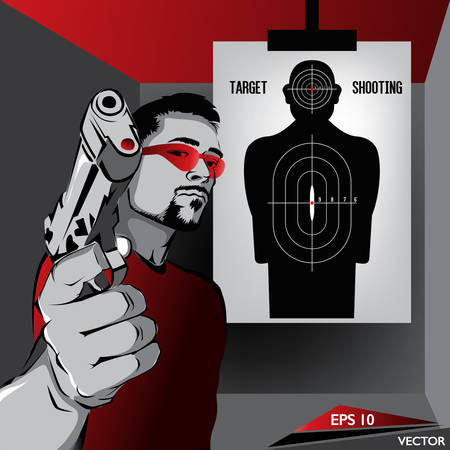 semi automatic: Handgun Sports - Male Character Practicing Target Shooting