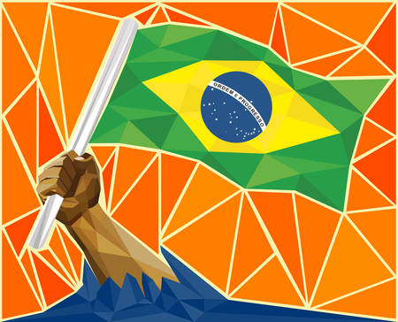 western theme: Strong Hand Raising The Brazilian Flag